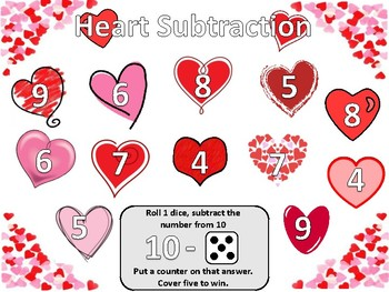 Heart Addition and Subtraction Dice Game