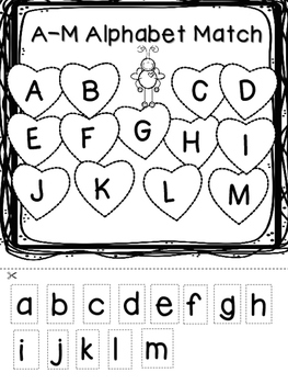 Heart Alphabet and Number Matching- Valentine's Day