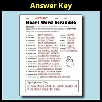 Heart Anatomy Word Scramble - Terminology Review Sheet {FREE}
