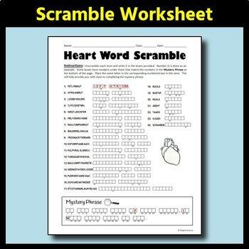 Heart Anatomy Word Scramble - Fun Review Worksheet