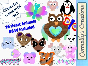 Heart Animals Clip Art  Inspired by Pinterest for Commercial Use!