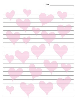 Heart Background Lined Valentine's Day / Friendship Paper