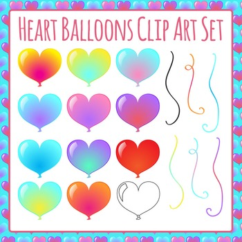 Heart Balloons Clip Art Set for Commercial Use