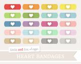 Heart Bandage Clipart; Medical, Baindaid, First Aid