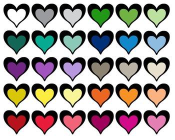 Heart Bicolor | Clipart | 30 png files | Scrapbooking Clip art | CA10