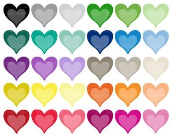 Heart Bicolor Tone on tone | Clipart | 30 png files | Scrapbooking  | CA24