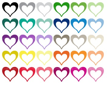 Heart Bicolor White | Clipart | 30 png files | Scrapbooking Clip art | CA23