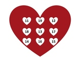 Heart Bingo for Number Recognition: 11-19