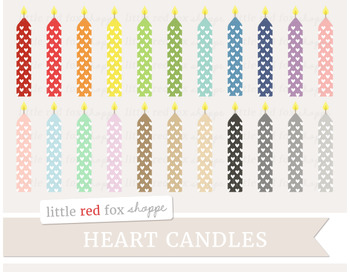Heart Birthday Candle Clipart; Party, Cake Decoration