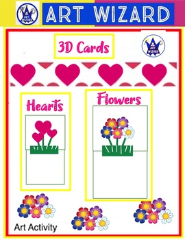 Make 2 Cards Make-Heart Card & Flower Card in 3D,Word search-Art Lesson, Mothers