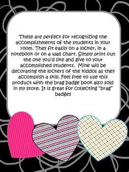 Heart Brag Badges-Celebrating the accomplishments of your students