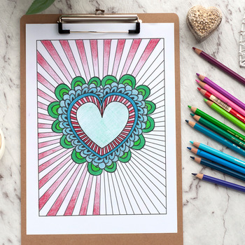 "Heart Burst Coloring Page | Printable 8.5x11"" PDF coloring page"