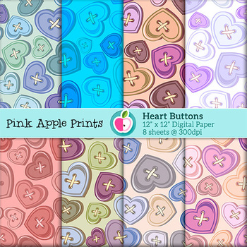 Heart Buttons Pattern Digital Papers Set: Graphics for Teachers