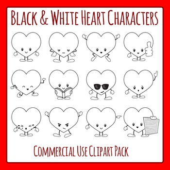 Heart Characters in Black and White - Valentines Day Commercial Use Clipart