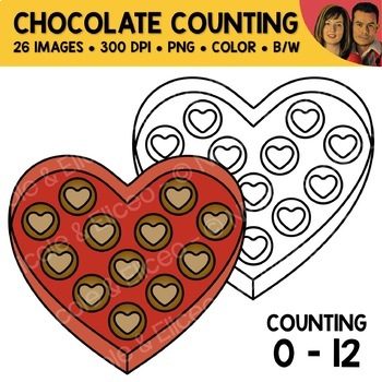 Heart Chocolate Counting Scene Clipart