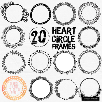 Heart Circle Frames, Round Label ClipArt, Circle Borders, Line Art + ...