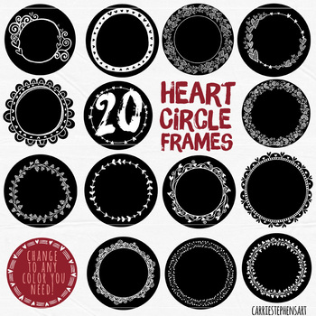 Heart Circle Frames, Round Label ClipArt, Circle Borders, Line Art + Silhouettes