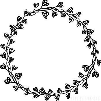heart circle frames round label clipart circle borders line art