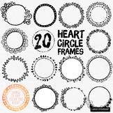 Valentine Heart Circle Frames Round Label ClipArt, Circle Borders Line Art