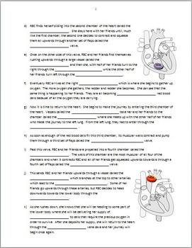 Heart Circulation - Review Worksheet {Editable}