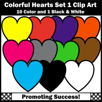 Heart Clip Art, Colorful Hearts, Rainbow Clipart, Primary Colors SPS