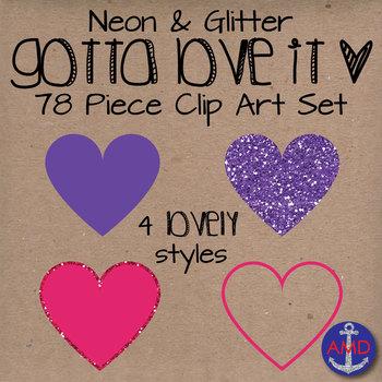 Heart Clip Art- Neon & Glitter- Gotta Love It- Valentine's Day Heart Mega Pack