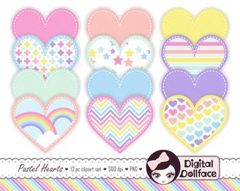 Heart Clip Art Set / Pastel Rainbow Clipart