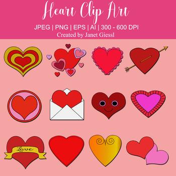 Heart Clip Art - Set of 12
