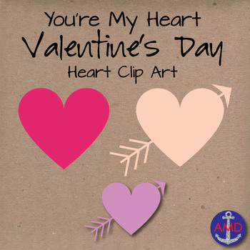 Heart Clip Art- You're My Heart- Valentine's Day Heart Clip Art