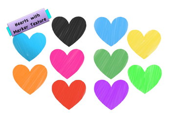 Heart Clip Art, with Marker Texture