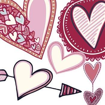 Pink Heart ClipArt, Valentine Clip Art, Love, Pink Heart Digital Graphics