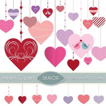 Heart Clipart Hanging Hearts Clip Art Scrapbooking Love Valentines Wedding