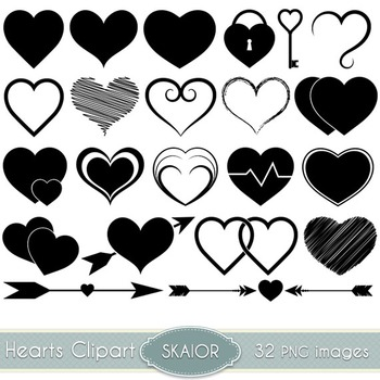 Hearts Clip Art Heart Clipart Silhouette Scrapbooking Icons Love Doodle