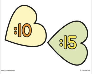 Heart Clock Labels for Telling Minute Time