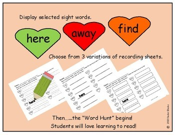 Heart Color Word and Sight Word Hunt - Pre-primer List