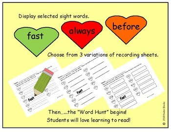 Heart Color Word and Sight Word Hunt - Grade Two Dolch List
