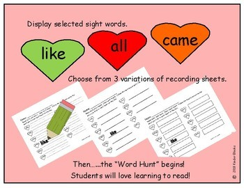 Heart Color Word and Sight Word Hunt - Primer List