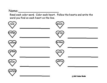 Heart Color & Sight Word Hunt:A Journey's 1st 40 Words