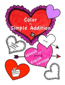 Heart Color by Simple Addition