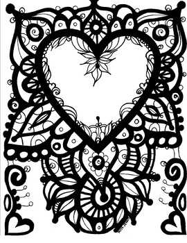 Heart Coloring Page.  Valentine's Day. Just because you Love someone.