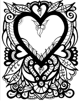Heart Coloring Page.  Valentine's Day. Mother's Day. Father's Day. Love.