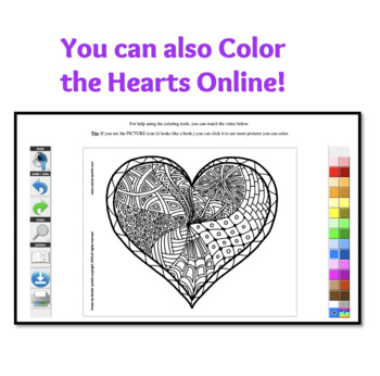 Heart Coloring Pages for Valentines Day by Rachel Lynette TpT