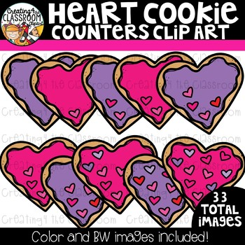 Heart Cookie Counters Clipart  {Valentine's Counting Clipart}