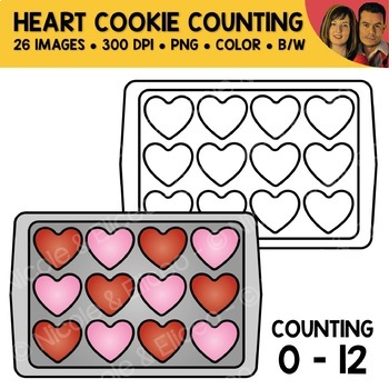Heart Cookie Counting Scene Clipart