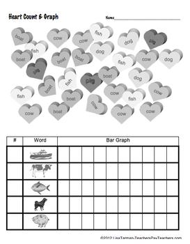 Heart Count & Graph  - Common Core Measurement & Data - Sight Words