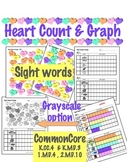 Heart Count & Graph  - Common Core Measurement & Data - Sight Words