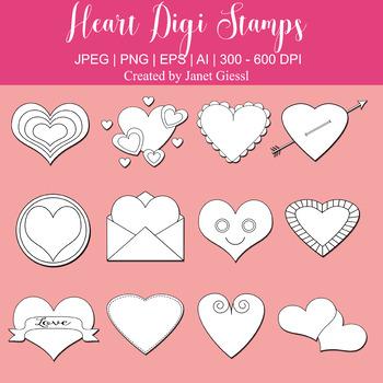 Heart Digi Stamps - Set of 12