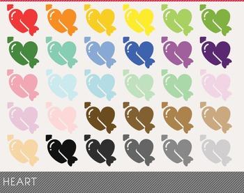 Heart Digital Clipart, Heart Graphics, Heart PNG, Rainbow