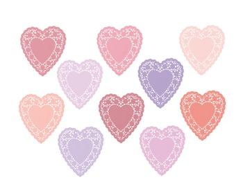 Heart Doily Clipart, Heart, Valentines Day, Set #212