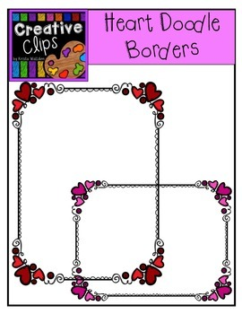 Heart Doodle Frames {Creative Clips Digital Clipart}